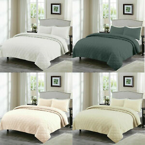 EnvioHome 3 Piece Washed 100% Cotton Ultra Soft Comforter Quilt Set Queen/King