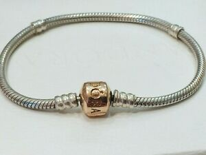Authentic PANDORA Bracelet Sterling Silver Rose Gold Plated Clasp 18cm 580702