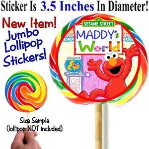 12 Elmo's World Birthday Party Jumbo Big Lollipop Stickers Labels Baby Shower