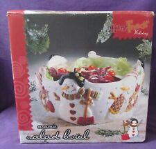 Ceramic Snowman Salad Bowl Fruit Bowl Cookie dish