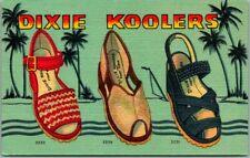 """1940s Chicago Linen Postcard C.W. Marks Shoe Co. """"DIXIE KOOLERS"""" Women's Shoes"""