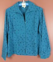 TB07751- TALBOTS Women Cotton Long Sleeve Blouse Embroidered Multicolor Floral L
