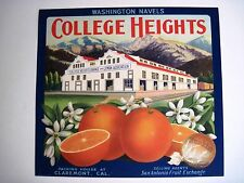 "Vintage Crate Label for "" College Heights"" Sunkist Orange -Claremont, CA*"