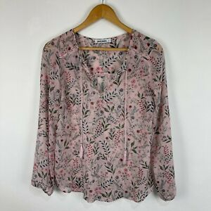 Just Jeans Womens Top Size 6 Peach Pink Floral Long Sleeve V-Neck