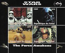 STAR WARS THE FORCE AWAKENS REPUBLIQUE DU TCHAD 2015 MNH STAMP SHEETLET