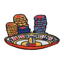 ID 8554 Roulette Wheel Chips Patch Casino Gambling Embroidered Iron On Applique