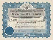 Bonneville Corporation - Stock Certificate 1934 Utah Scripophily
