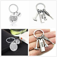 Cute Father's Day Gift Stainless steel Keyring Family Daddy Dad Hero Love Keyfob