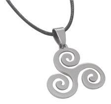 Collier, pendentif Triskel spirale, Teen wolf, acier poli + cordon. Qualité A++