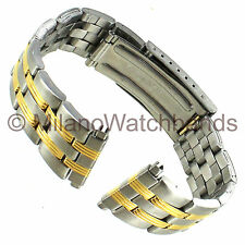 16-22mm Gemex Stainless Steel Silver Gold Two Tone Deployment Buckle Watch Band
