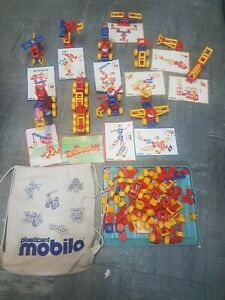 Mobilo, Large Bundle Toy Construction Set with Cloth Bag, 12 Instruction Cards