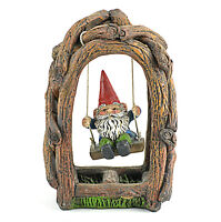Miniature Fairy Garden Dollhouse Gnome on a Swing - 5 x 3.5 inches - Resin
