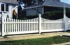 200' OF PVC VINYL DENVILLE TRADITIONAL PICKET FENCE SCALLOP TOP DOGEAR 4'H x 8'W