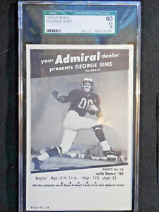 RARE 1950 Los Angeles Rams Admiral card #20 George Sims SGC 60 ex 5 NICE!