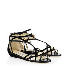 Jimmy Choo Crush Flats Black Patent Suede Sandals - Size 37 UK 4