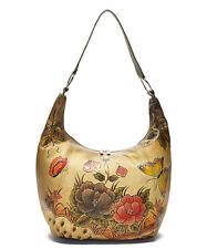 Biacci Cream Garden Leather  Hobo Bag  NEW