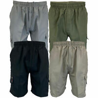 Mens Plain Combat Cargo Shorts Knee Length Sports Running Casual Fashion Summer