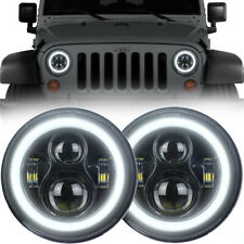 "7"" Black Halo LED Projection Headlights for 1997-2018 Jeep Wrangler JK JKU TJ"
