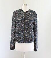 Ann Taylor Loft Black Floral Print Zip Front Bomber Jacket Size M Blue Spring
