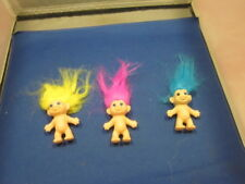 """Lot of Three Vintage Troll Dolls Made in Korea 2 1/2"""" Pink, Yellow And Blue Hair"""