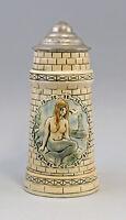 8248010 Keramik Bierkrug in Turmoptik Nixe Humpen Sitzendorf Thüringen