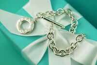 """AUTHENTIC Tiffany & Co Sterling Silver Toggle Bracelet 7 3/4"""" (#1177)"""