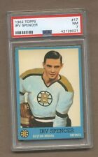 1962-63 Topps Hockey No. 17 Bruins Irv Spencer  PSA 7 NM