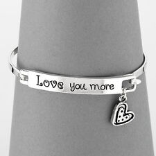 Simple Silver Love You More Message Heart Charm Bangle Bracelet