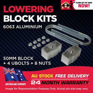 """Lowering Blocks Kit Ford Courier 2"""" (50mm) 1978-2006 75mm ID U-Bolts"""