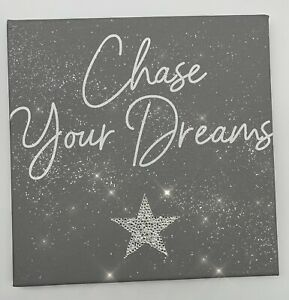 Diamond Effect Glitter Canvas With Swarovski Crystals 'Chase Your Dreams'