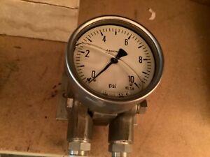ASHCROFT DRESSER 0-10 Bar Pressure Differential Gauge 316 Stainless steel