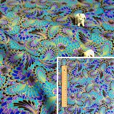 JAPANESE BLUE PURPLE Meter/Squares Cotton Fabric Oriental Kimono Peacock Feather
