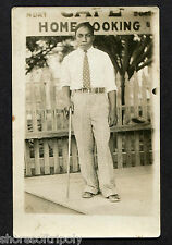 1920's AFRICAN AMERICAN FANCY MAN HOME COOKING~POLKA DOTS & CANE~ ORIGINAL PHOTO