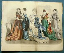 Peterson's Hand Colored Fashion Plate May 1868 DINNER OR EVENING DRESS