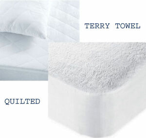 Extra Deep Quilted/Terry Mattress Protector  Cover Stretch Skirt Hypoallergenic