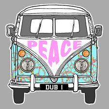 Peace and Love Combi VW Dub Cox Hippy Love 9cm Sticker Auto PC118
