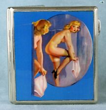 Antique 1920s Erotic Shower Lady British Silver Pictorial Cigarette Case