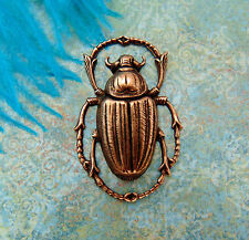 SALE ANTIQUE COPPER Egyptian Bug Scarab Beetle Stamping Jewelry Finding (C-408)