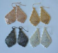 Designer Inspired Jewelry Bell Style Flat Metal Filigree Earrings in 7 Color New