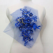 1Piece 3D Flower Embroidery Tulle Rhinestone Beaded Applique/Patch Motif Sew On
