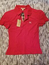 Burberry Brit men military red short sleeve nova check placket polo shirt. Med