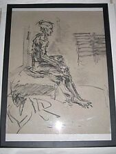 Figure drawing nude, expressive charcoal, young man sitting,  A1 / A2 size @