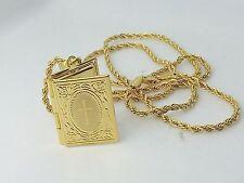 Collana Ciondolo Oro Portafoto Libro Croce Unisex Uomo Donna Gioielli di Vicky