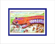 Redback Print, Note Card, Pen and Ink, Matted, Amphibian, Salamander