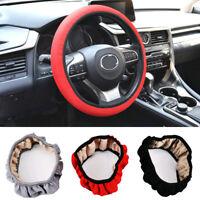 1x 38cm Elastic Car Steering Wheel Cover Non Slip Handmade Cover Car Accessories