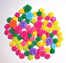 80 Colorful Resin Rose Flower Flatback Embellishments For Crafts 12mm & 20mm NEW