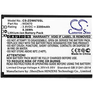 Batterie Li-ion / 3.8V / 2200mAh type DC013 pour ZTE MF673, ZTE Nubia WD670