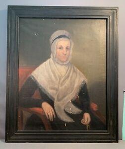 LG Ca.1850 Antique VICTORIAN Era PRIMITIVE LADY PORTRAIT Old FOLK ART PAINTING