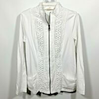 Soft surroundings women's full-zip jacket Lace Details Size Small White L/Sleeve