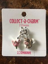NWT Vintage 2004 Gymboree Girls Fox Trot 2 Charms Pink Flower Floral Heart